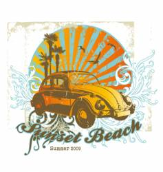 Sunset beach vector