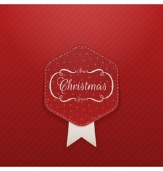 Christmas realistic red Emblem with Snowflakes vector image