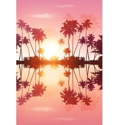 Pink sky palms silhouettes with reflection vector