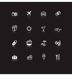 White travel icons on black vector
