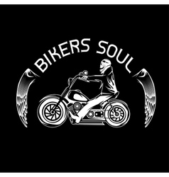 Bikers theme label with skeleton on motorbike vector