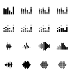 Black music soundwave icon set vector