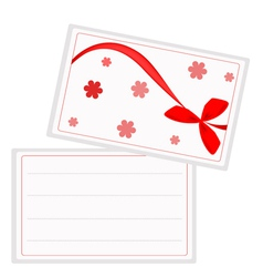 A White Gift Card with Red Ribbon vector image vector image