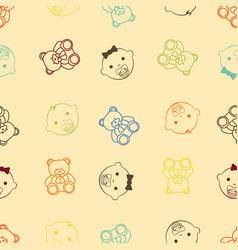 Baby girl baby boy and teddy bear seamless retro vector