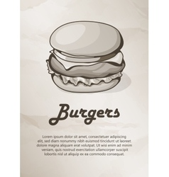 Burger vintage menu label logo frame vector
