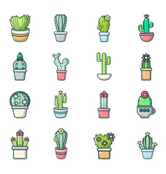 Cactus flower icons set cartoon style vector