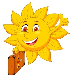Cartoon sun travelle vector image vector image
