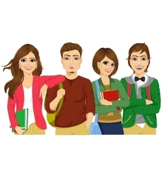 Casual group of students looking happy and smiling vector image