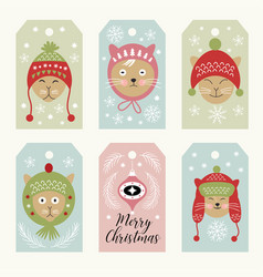 cute cats christmsa cards vector image vector image