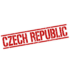 Czech republic red square stamp vector