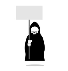 Death with an blank paper over head Grim Reaper in vector image