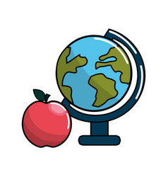 Earth planet desk and apple icon vector