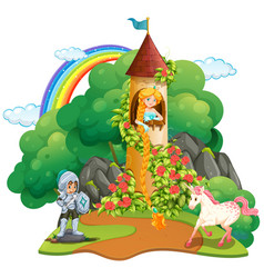fairytale scene with knight and princess vector image vector image
