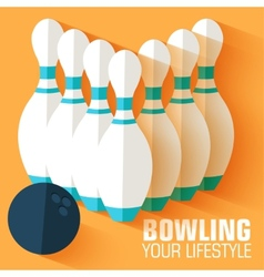 Flat sport bowling background concept desig vector