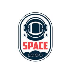 Logo with astronaut s protective helmet in outline vector