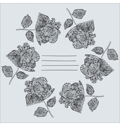 Notepad Cover with hand-drawn black Flowers vector image
