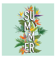 Palm leaves and tropical flowers summer background vector