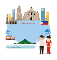 Philippines landmarks people in traditional vector