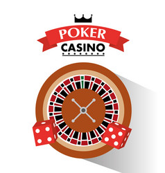 poker casino dice and roulette wheel bets game vector image