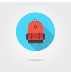 red backpack in blue circle with shadow vector image