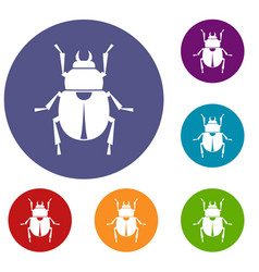 Scarab icons set vector