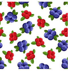 seamless pattern with cartoon blueberries vector image