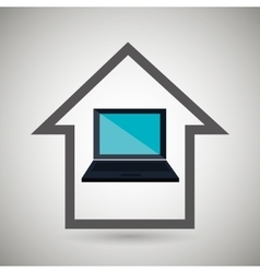 Smart home with laptop isolated icon design vector