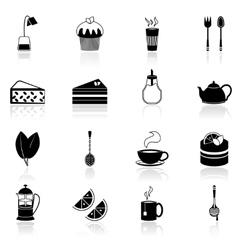 Tea icons set black vector image vector image