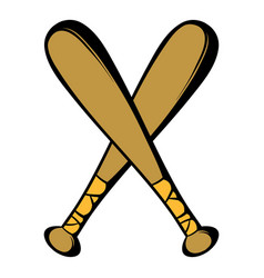 Two crossed baseball bats icon icon cartoon vector