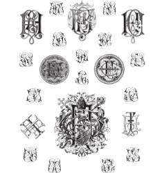 vintage monogram set three vector image vector image