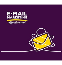 Yellow color envelope with white wire and vector