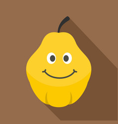 Yellow smiling quince fruit icon flat style vector
