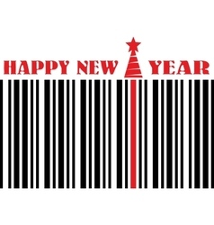 happy new year barcode flyer vector image