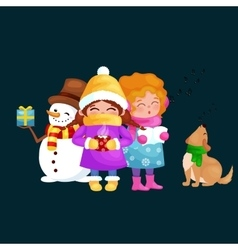 set Merry Christmas Happy new vector image