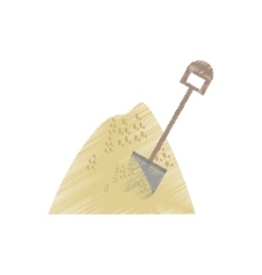 Drawing mining mineral sand pile shovel vector