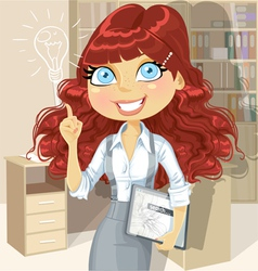 Curly hair girl with tablet inspiration idea vector
