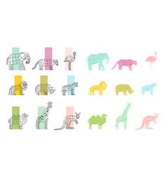 Wild animals flat polygonal icons set vector