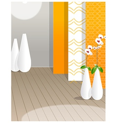 Flower vase against wallpaper vector