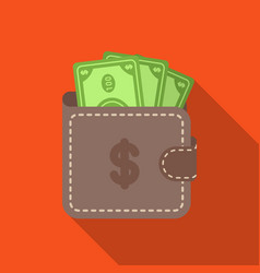 Wallet with cash icon in flat style isolated on vector