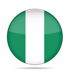 flag of nigeria shiny round button vector image