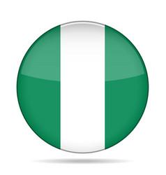 Flag of nigeria shiny round button vector