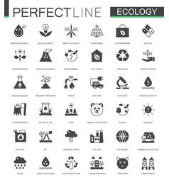 Black classic green ecology web icons set vector