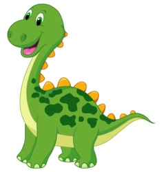 Cute green dinosaur cartoon vector image