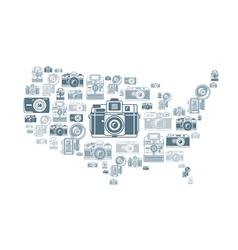 Retro photo cameras in USA shape vector image