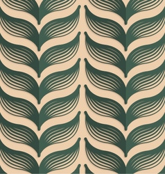 Retro fold deep green striped leaves vector