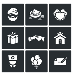 Charity help the homeless and poor people icons vector