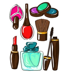 Set of isolated cosmetics icons vector image