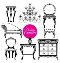 Hand drawn vintage furniture style set vector