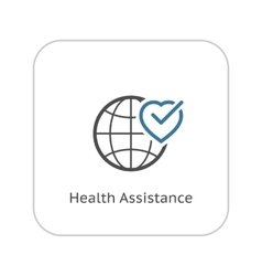 Health assistance icon flat design vector