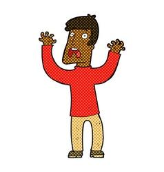 comic cartoon frightened man vector image